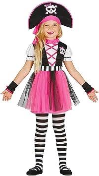 Amakando Encantador Disfraz de Chica Pirata para niñas / Rosa ...