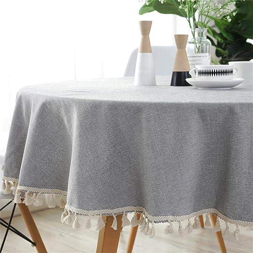 Homcomodar Gris Redondo Manteles en algodón y Lino para Mesa de ...
