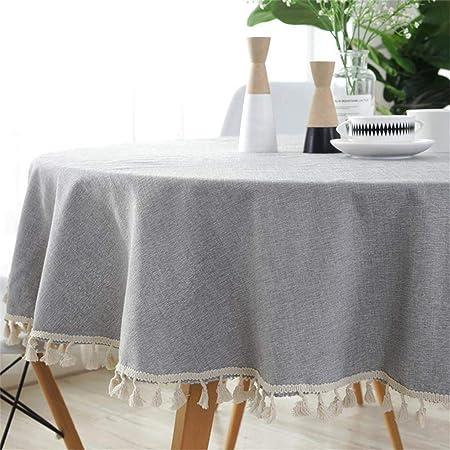 Homcomodar Gris Redondo Manteles en algodón y Lino para Mesa de Comedor 150 cm de diámetro Lavable Mantel: Amazon.es: Hogar