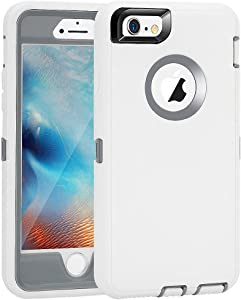 "iPhone 6 Plus/6S Plus Case, Maxcury Heavy Duty Shockproof Series Case for iPhone 6 Plus/6S Plus (5.5"") with Built-in Screen Protector Case Cover (White/Gray)"