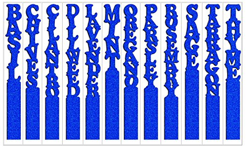 Vertical Glitter Herb Plant Garden Stakes Laser-cut Acrylic 08in Blue Set of 12 (Same Color)