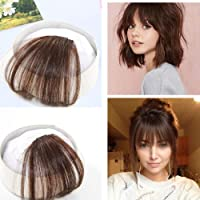 Ugeat 100% Human Hair Clip in Hair Extensions 6 Medium Brown Front Fringe with Hair Temples One Piece Striaght Fringe Hairpiece Accessories