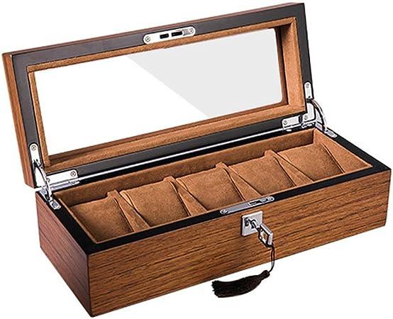 Sikungjlk Estuche para Relojes Relojes de Madera con Cerradura Exhibidores Caja de Almacenamiento con Tapa de Vidrio de 5 Ranuras Marrón Color Caja de Reloj,Caja de presentación para Relojes,Ca: Amazon.es: Hogar