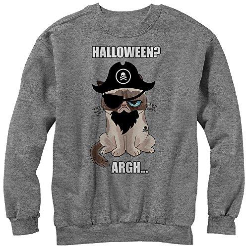Grumpy Cat Men's Halloween Pirate Athletic Heather Sweatshirt ()