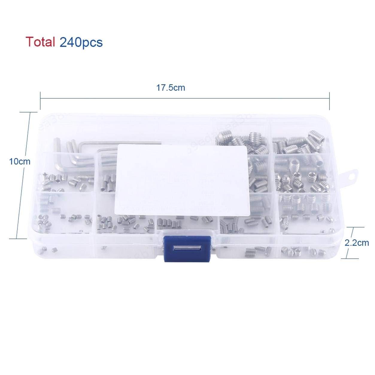 LAQI 304 Edelstahl Sechskant-Madenschrauben Kopfmuttern Gewinde Cup Point Maschinenbefestigung Sortiment Kit mit Inbusschl/üsseln Packung /à 240 St/ück