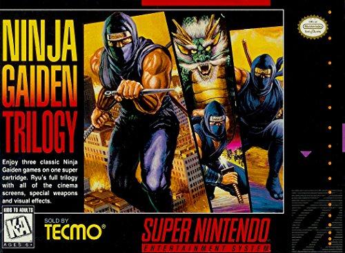 Ninja Gaiden Super Nintendo - Ninja Gaiden Trilogy - (Super Nintendo, SNES) Reproduction Game Cartidge with Replica Miniature Box and Manual