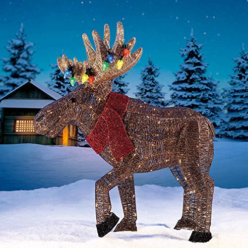 Glitter String Moose with Red Scarf 45