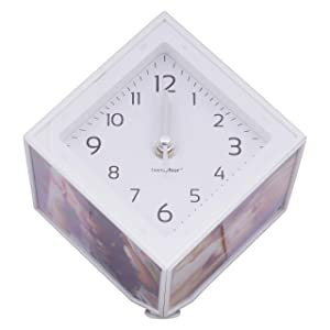 Craftowl Magic Cube Photo Frame with Clock-Magic Cube Rotating Photo Frame-Operates with Two Batteries-6 Photos of 6 * 6 Size