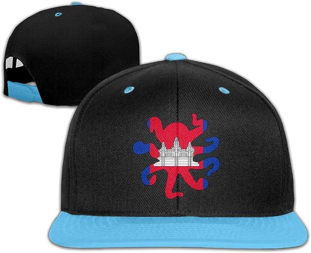 HERSTER Youth Boys/&Girls Cambodia Flag Octopus Shaped Baseball Caps Trucker Cotton Cap Hats