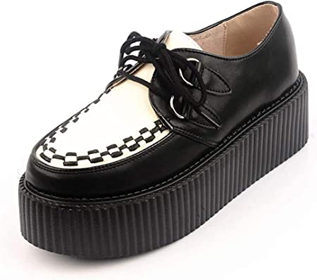 RoseG Mujer Zapatos Cordones Cuero Plataforma Punk Creepers