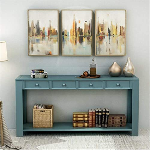Console Sofa Table for Living Room, WeYoung Wood Entryway Table with Storage Drawers and Bottom Shelf 64 L x 15 W x 30 H Dark Blue