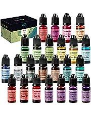 LET'S RESIN Epoxy Pigment 24 Colors Epoxy Resin Dye, Liquid Epoxy Resin Color Pigment, Translucent Resin Colorant for Epoxy Resin Coloring (Each Bottles 0.35oz)