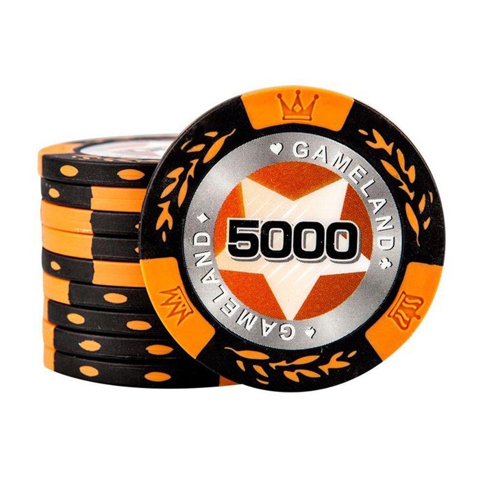 Jetons de poker Composite d'argile Jeux de société Articles de casino Jeux ?Valeur nominale 5000?10 pièces