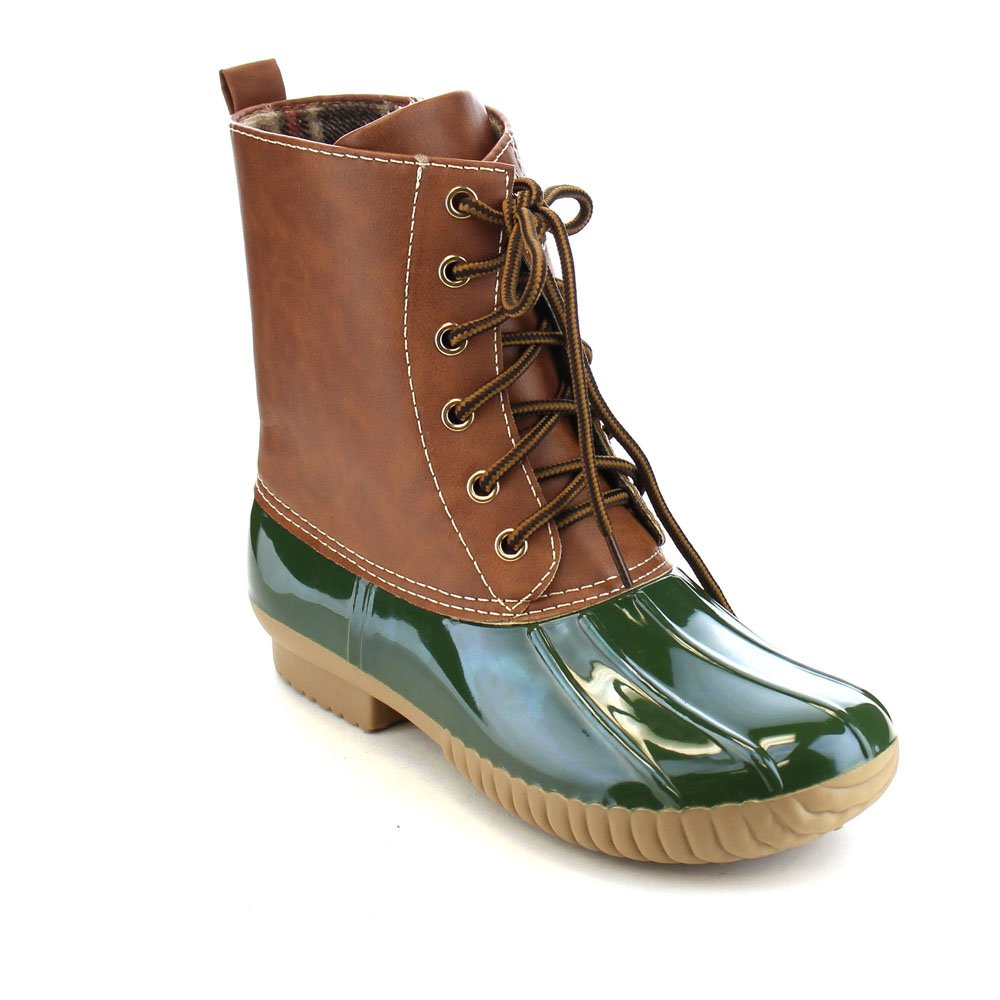 AXNY Dylan Women's Lace Up Two Tone Combat Style Calf Rain Duck Boots Yoki