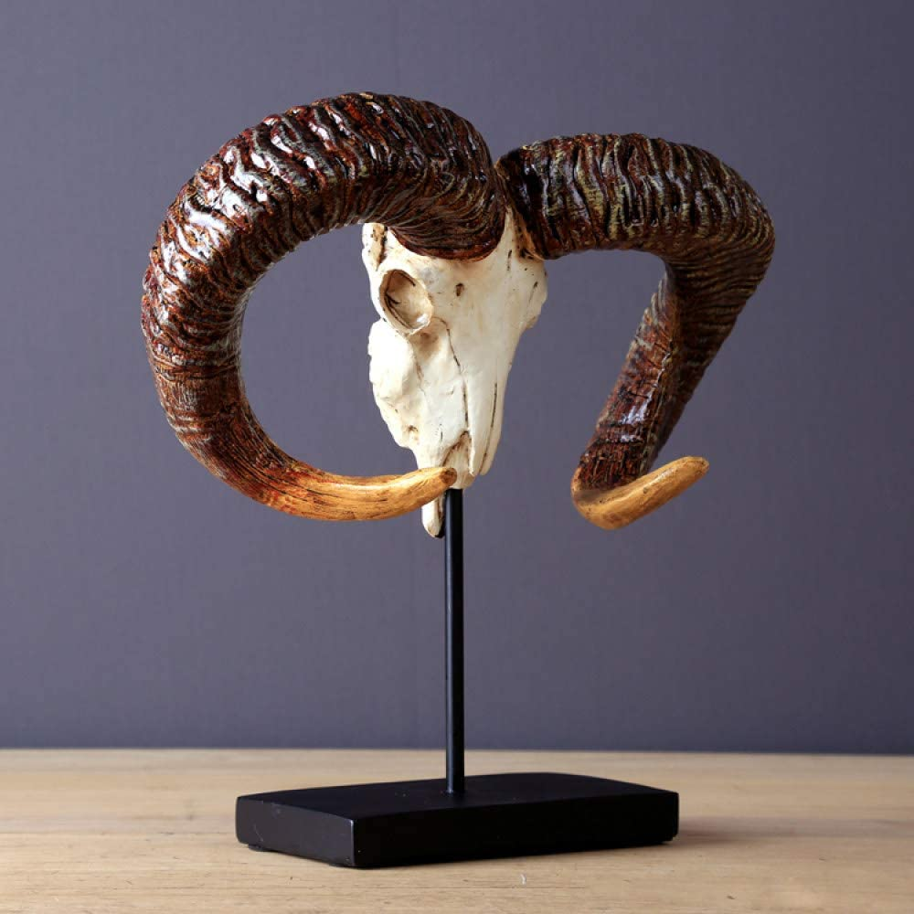 Statuette Figurines,Antique Wild Goat Skull Sculpture,Handmade Resin Ibex Horn Statue, Art and Craft Ornament Furnishing Home Decor Business Present