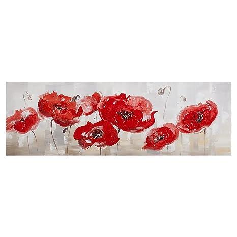 Quadro papaveri rossi dipinto su tela con olio e stucco, struttura ...