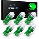 SiriusLED Super Bright 1W 360 Degree Projector LED Bulbs for Interior Car Lights Gauge Instrument Panel License Plate Dome Map Side Marker Courtesy T10 168 194 2825 W5W Green Pack of 6