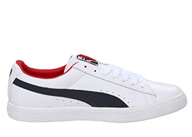half off 5bc70 161cf Amazon.com | PUMA Mens Clyde Leather White/Red/Navy 352773 ...