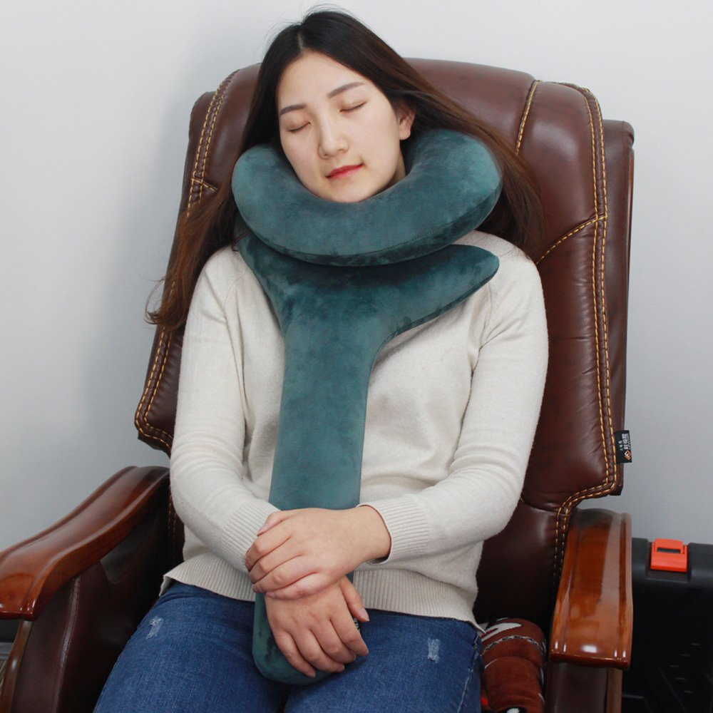 Inflatable Travel Pillow, Travel Neck Pillow for Men Women Portable Cute Q Shape Soft Velvet Pillows for Airplane, Car, Office Napping and Camping (Green)