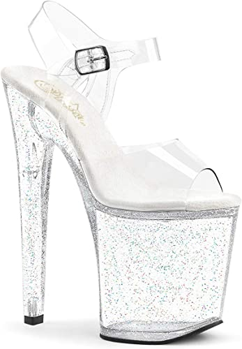 Pleaser XTREME-808 Platforms Pole Dancing Clear Ankle Strap High Heels