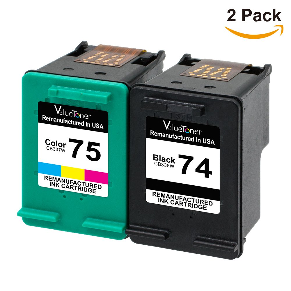 Valuetoner Remanufactured Ink Cartridge Replacement For HP 74 75 CC659FN CB335WN CB337WN (1 Black, 1 Tri-Color) 2 Pack