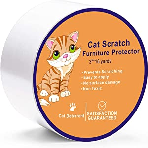NM Cat Scratch Furniture Protector Deterrent Tape -Anti Cat Scratch Tape-Clear Double Sided Cat Training Tape,3 inches x 16 Yards Furniture Protector for Couch, Doors. Residue Free