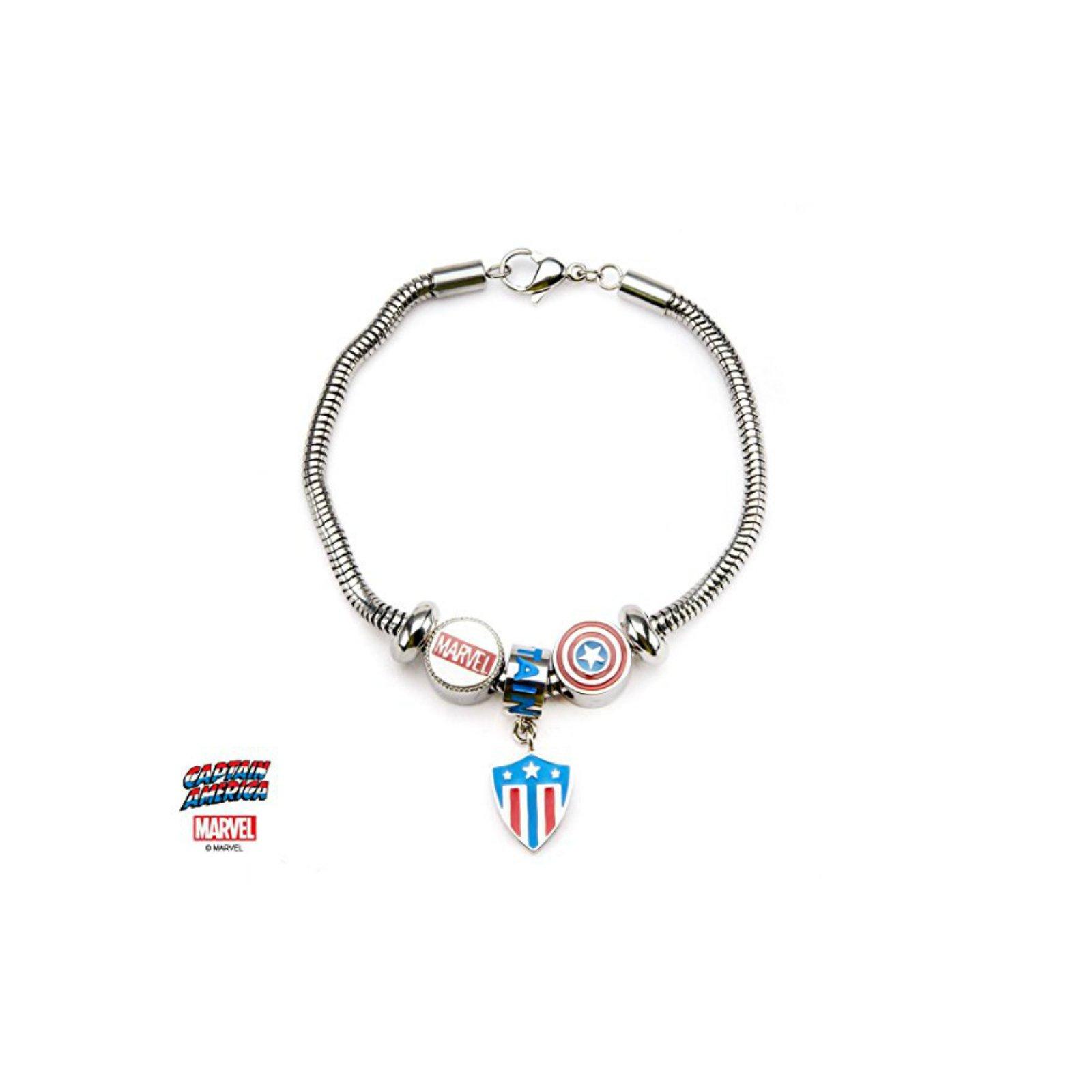 Athena Brand Marvel Captain America Stainless Steel Bead Charm Bracelet in Gift Box
