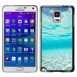 FECELL CITY // Duro Aluminio Pegatina PC Caso decorativo Funda Carcasa de Protección para Samsung Galaxy Note 4 SM-N910 // Light Blue Sea Under Water Paradise Waves