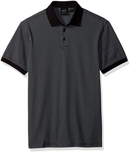 A|X Armani Exchange Men's Double Dot Print Jersey Polo, Blk Base/Micro Geome, - Exchange Polo Armani