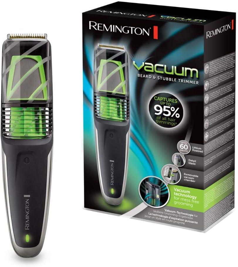Remington MB6850 Vacuum – Barbero, Cuchillas de Titanio, Tecnología de Aspiración, Inalámbrico, Negro y Verde