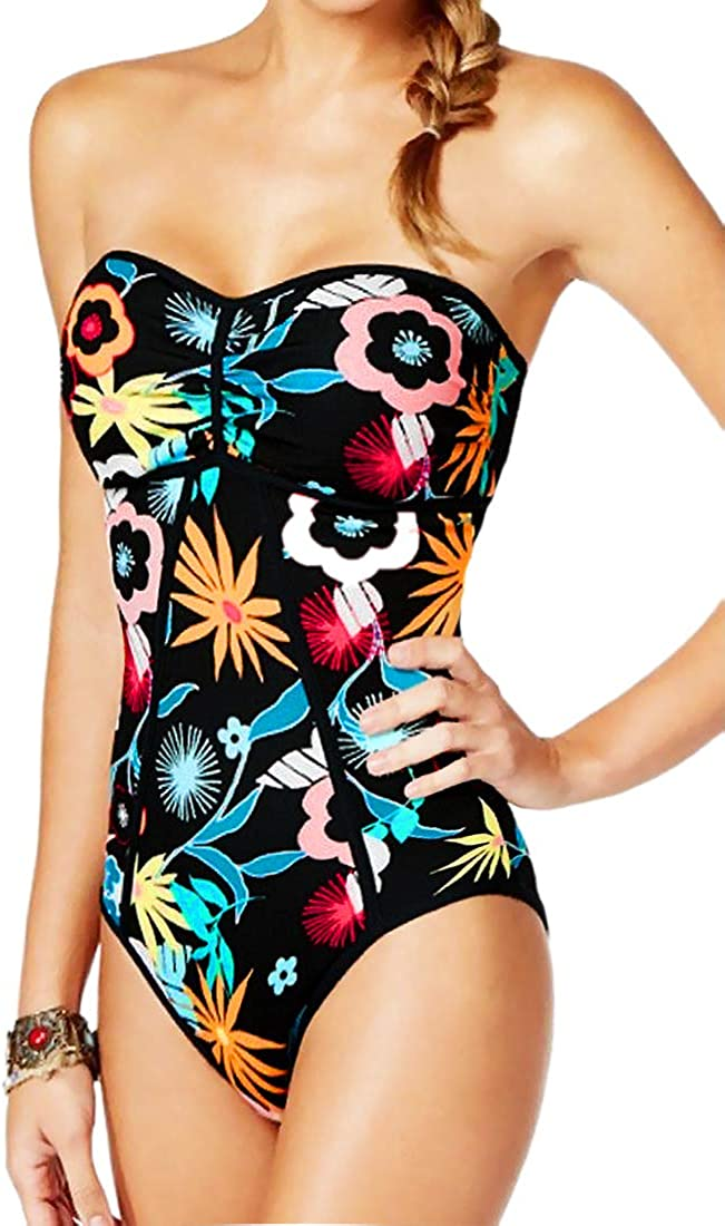 Coco Rave One Piece Swimsuit Bandeau Printed Floral Swimwear 34B 34C M Black