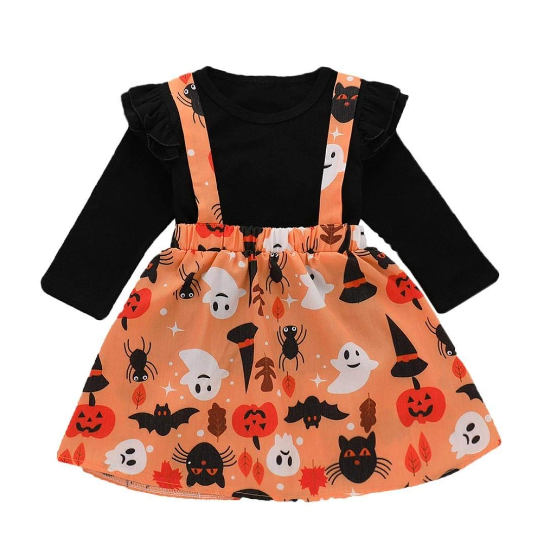 Suma-ma (12M-4M) Kids Baby Girls 2Pcs Halloween Flower Bud Edge Long-Sleeve Blouse + Cartoon Printed Suspender Skirt