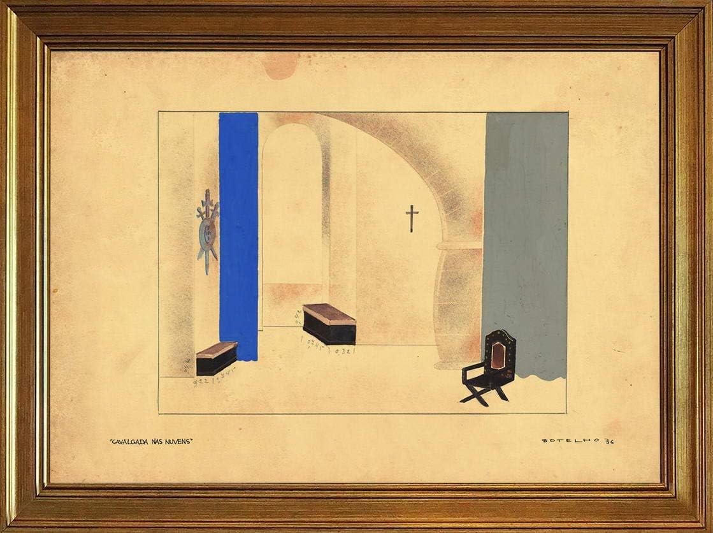 Berkin Arts Carlos Botelho Classic Framed Giclee Print On Canvas-Famous Paintings Fine Art Poster-Reproduction Wall Decor(Cavalgada NAS Nuvens) #JK