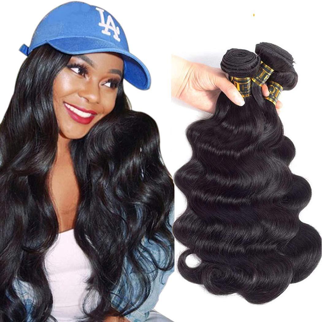 QTHAIR 10A Brazilian Virgin Body Wave Human Hair(20 18 16 14,400g,Natural Black)100% Unprocessed Body Wave Brazilian Virgin Human Hair Extensions Weave Brazilian Body Wave Hair Weaving by QTHAIR