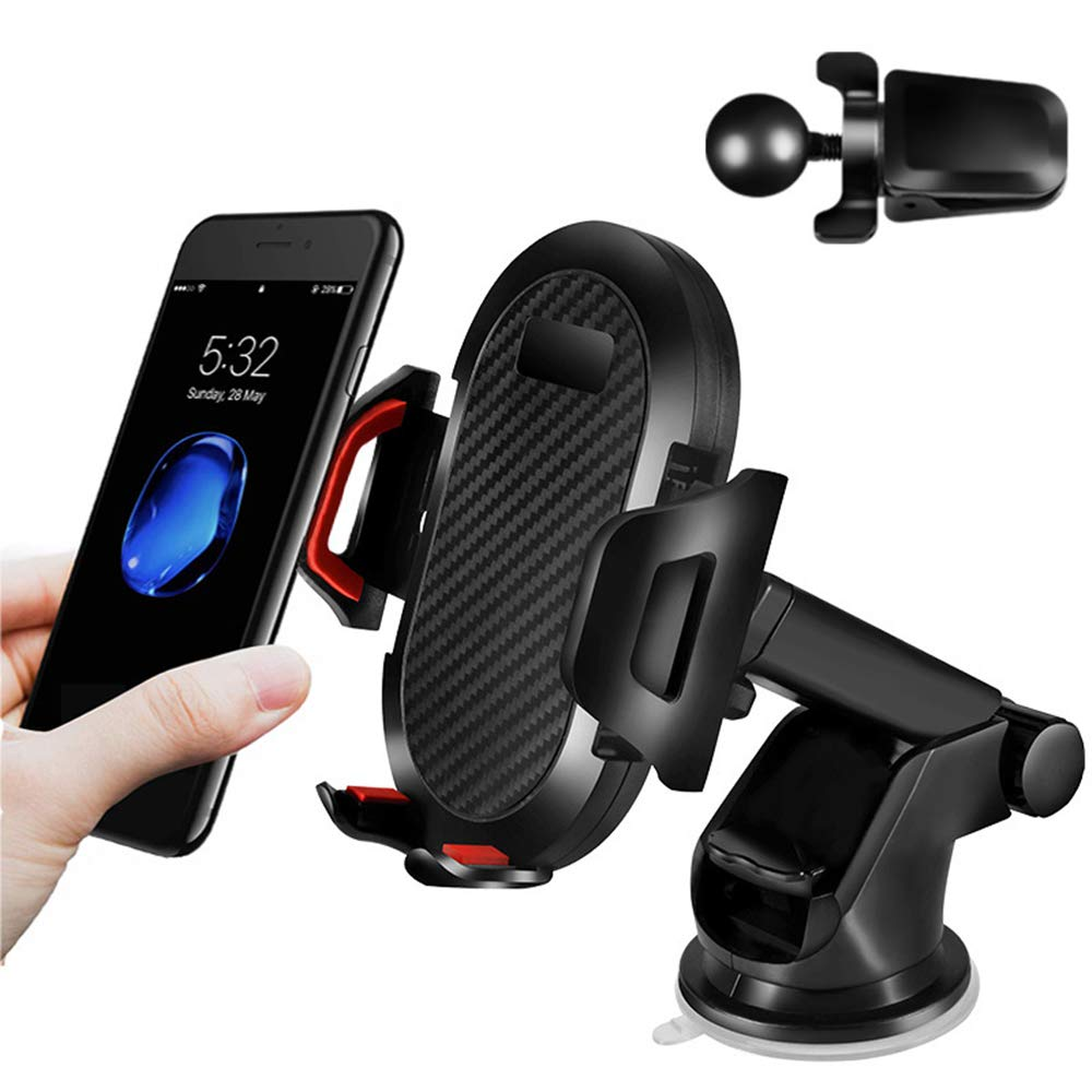 Adjustable Distance Wuedozue 360 Degree Rotation Dashboard Air Vent Car Cell Phone Holder with Strong Sticky Gel Pad Compatible with iPhone X//XS//8//7,Galaxy S7//S8 //S9 and More Car Phone Mount