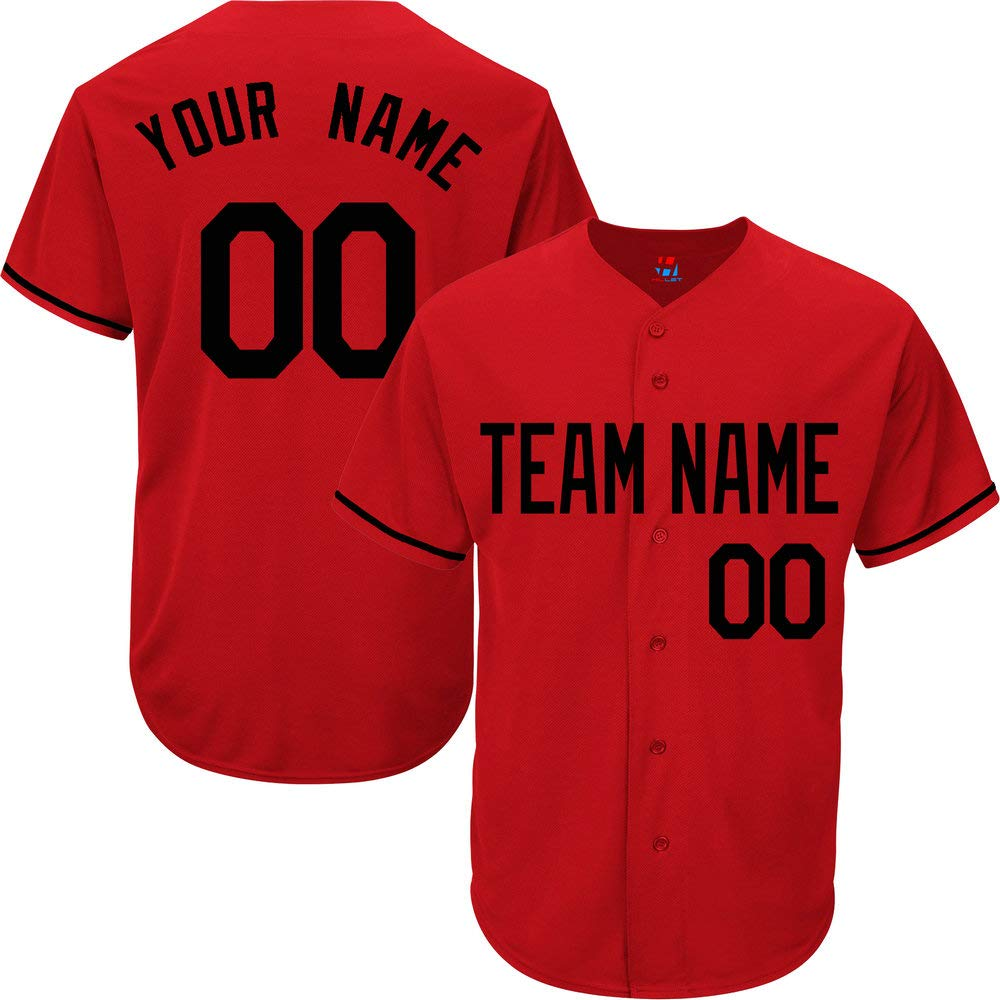 Red Customized Baseball Jersey for Youth Practice Stitched Your Name & Numbers,Black Size 3XL by Pullonsy