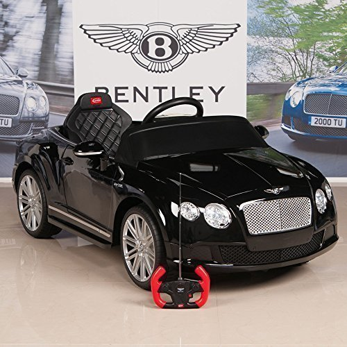 bentley gtc 12v kids ride on battery powered wheels car with rc remote and floor mat black little kid cars