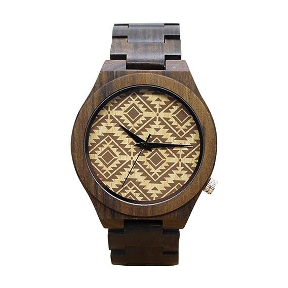 Dxlta Moda Hombres Relojes de Madera Correa de Madera Reloj Casual Reloj de Cuarzo (3