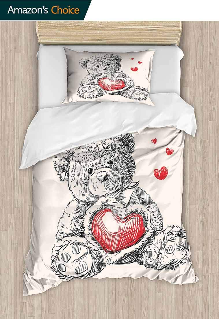 Doodle Printed Quilt Cover and Pillowcase Set, Detailed Teddy Bear Drawing with Heart Instead of a Belly Mini Floating Hearts, Cool 3D Outer Space Bedding Digital Print - 2 Piece, 71 W x 79 L Inches