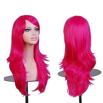 Falamka peluca larga onda para mujeres fiesta pelucas coloridas (fucsia)