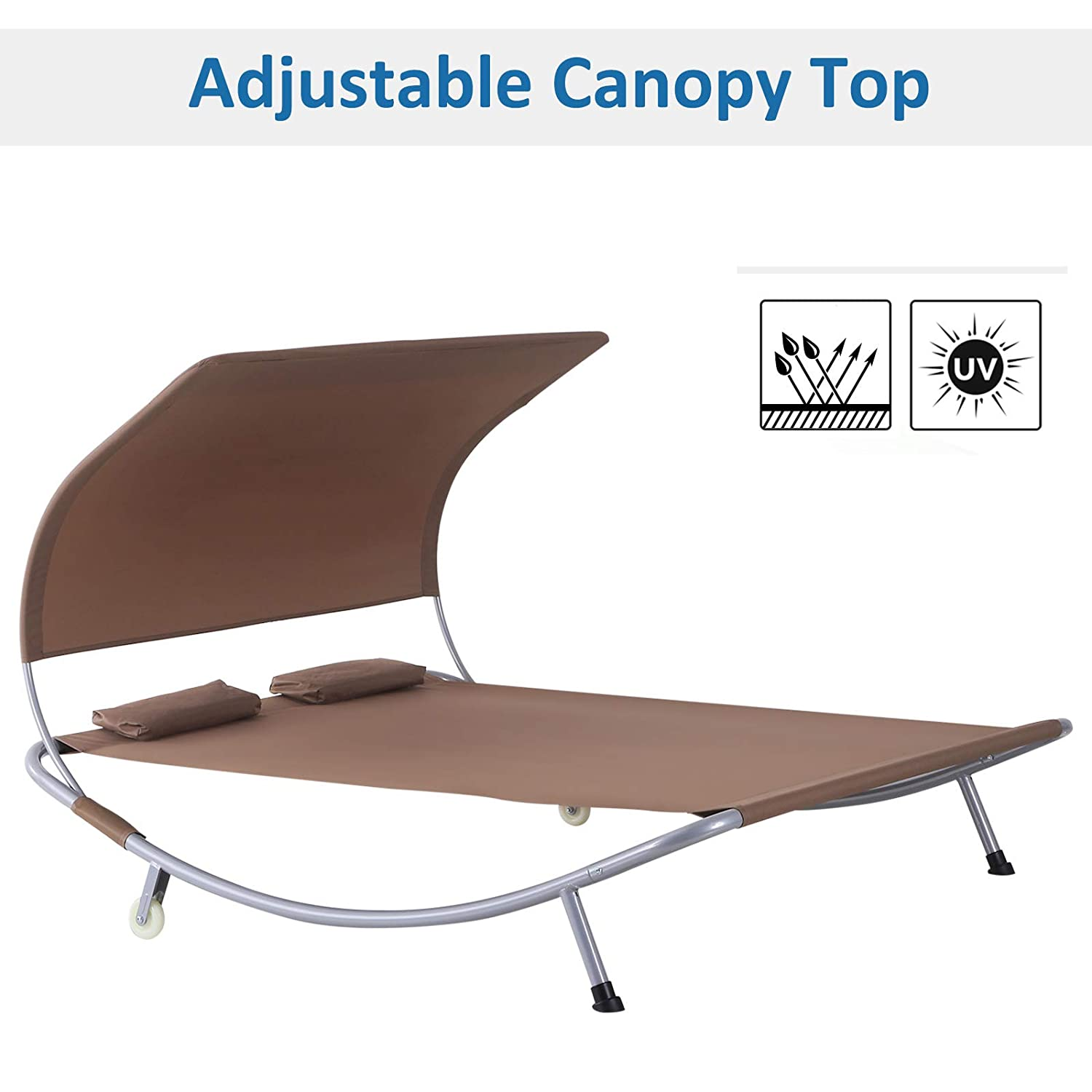 Outsunny 79 Double Sun Lounger Outdoor Hammock Bed Relaxing Chaise Lounge Sleeping Bed w//Pillow and Canopy
