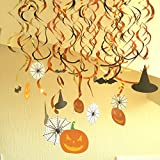 LifeMadeSimple Cute Indoor Halloween Party Decorations for Kids-30 Piece Hanging Swirl Set for a Great Holloween Decor At Home or In The Classroom