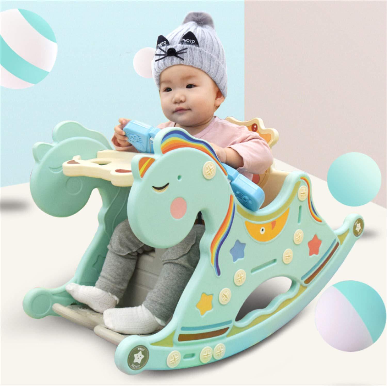 赤ちゃんプラスチックロッキングホース玩具、子供屋外ロッカー動物ライド子供ロッキング玩具子供1-3年スライダーバスケットボール取り外し可能なアセンブリ  B B07T5CYKQX