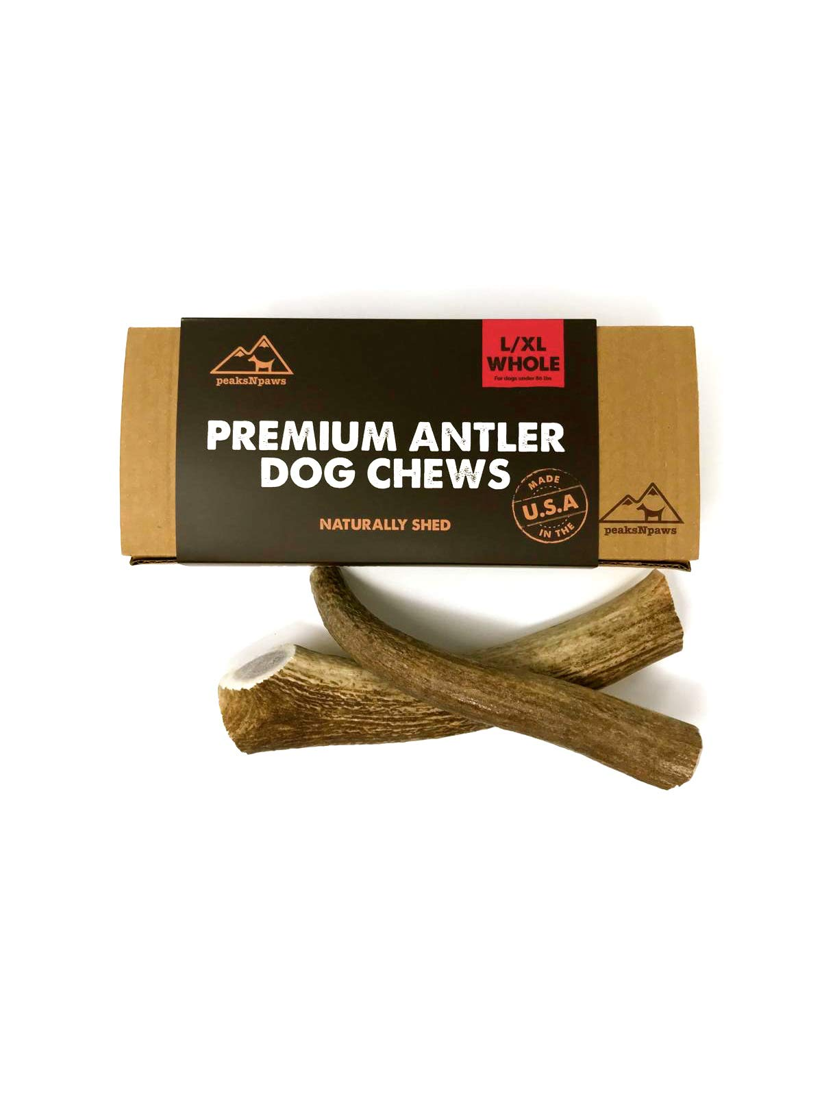 peaksNpaws Premium All-Natural Grade A Whole Elk Antlers for Dogs - Naturally Shed in The Rocky Mountains - No Additives, No Preservatives - Healthy and Delicious Treat - Made in USA