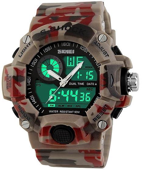 downj función Multi Militar S-Shock camuflaje rojo deportes reloj LED Digital impermeable alarma relojes