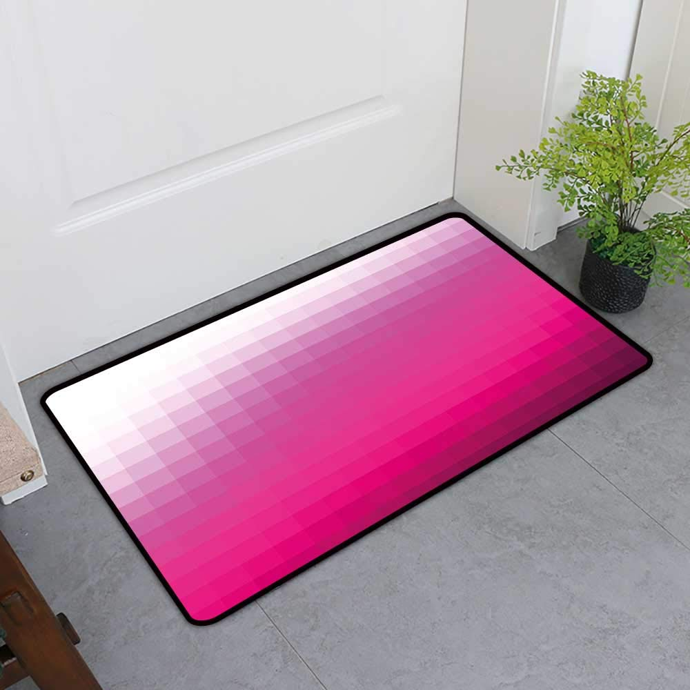 TableCovers&Home Entrance Door Mat, Hot Pink Non-Slip Rugs for Kitchen, Modern Art Mosaic Tiles Gradually Color Changing Squares Image (Hot Pink Dark Purple White, H36 x W60)