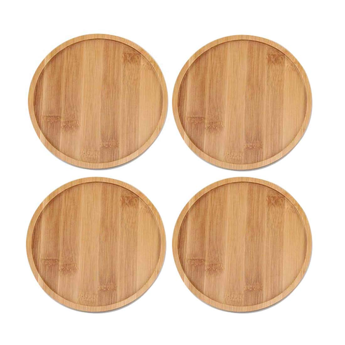 TOUCH MISS 6.1 Inch Round Bamboo Plants Saucer for Pot Sandy Beige Pack of 4 Brand:TOUCH MISS by TOUCH MISS
