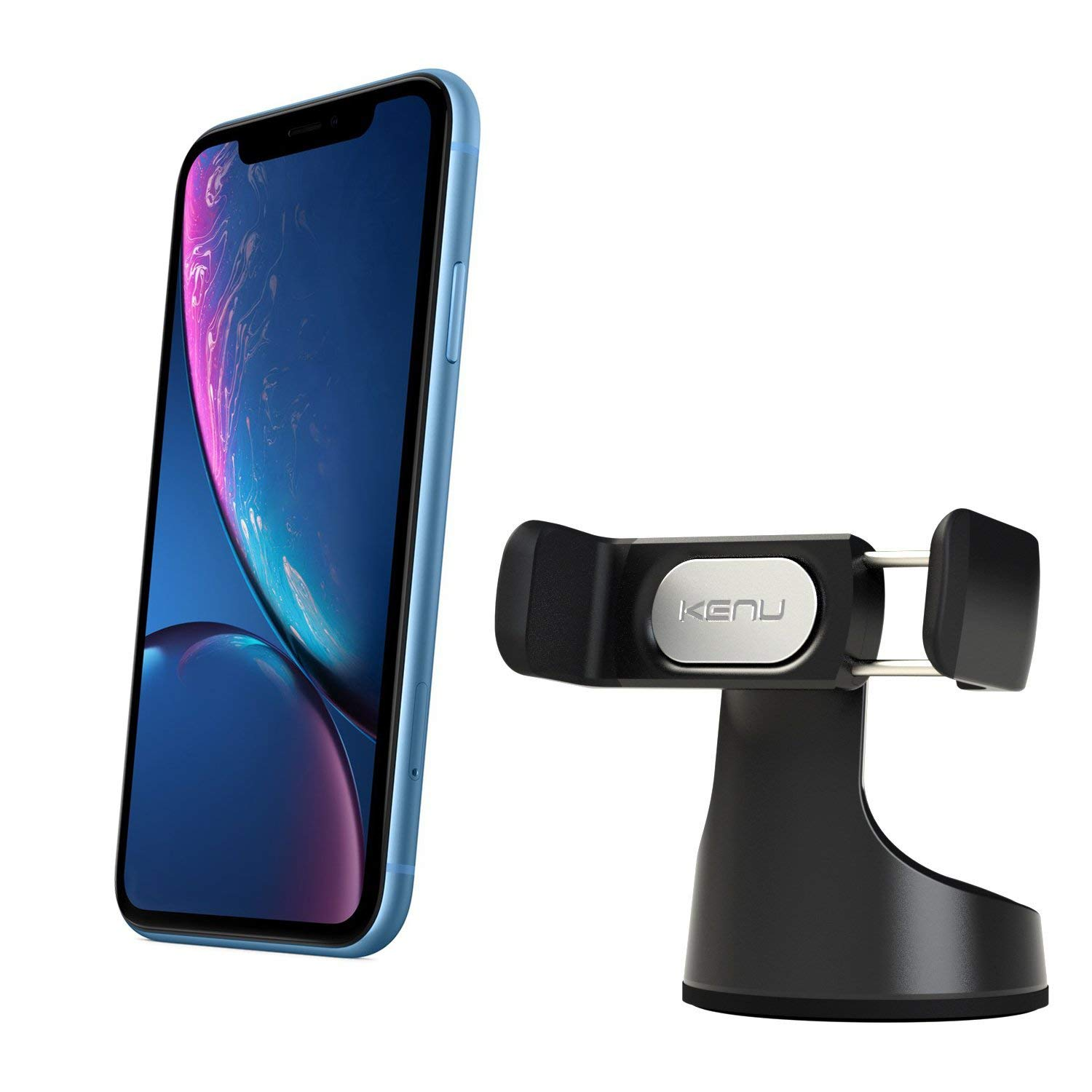 Kenu Airbase Pro | Premium Car Phone Mount | Android Car Mount + iPhone Car Holder, Works with iPhone Xs Max/Xs/X, iPhone 8 Plus/8, iPhone 7 Plus/7 Car Accessories, Samsung Phone Stand | Black by Kenu