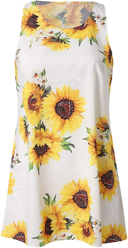 ZHENBAO Summer Tank Dresses for WomensVintage 3D Floral Printed A-Line Short Mini Dress White