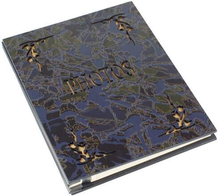 SHKRRB レトロウッドアルバムビッグベンアルバムを貼り付け積層するDIYアルバムは女の子の日のギフトを撮影刻まれた木材フェイス20ページ(40 SIDES) (Color : Blue, Size : 40)
